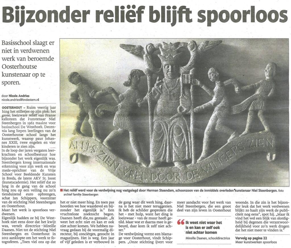 Verschenen in de BN DeStem regio Oosterhout van dinsdag 14 januari 2014.